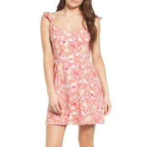 NWT WAYF 'Iris' pink tie back minidress
